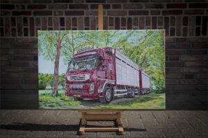Volvo, olieverf op doek, 50x80 cm.