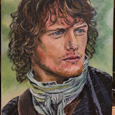 Acteur Sam Heughan, paletmessen,acryl en olieverf op doek, 60x80 cm.