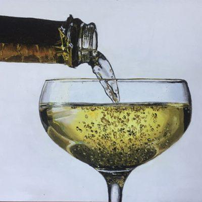 Champagne glas, olieverf op paneel 18 x 24 cm.
