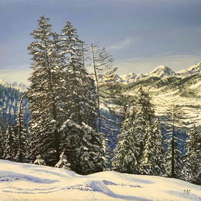 Winterlandschap, olieverf op paneel 30 x 30 cm